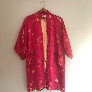 Vintage Tops - Vintage Bright Pink Satin Kimono Cover Up